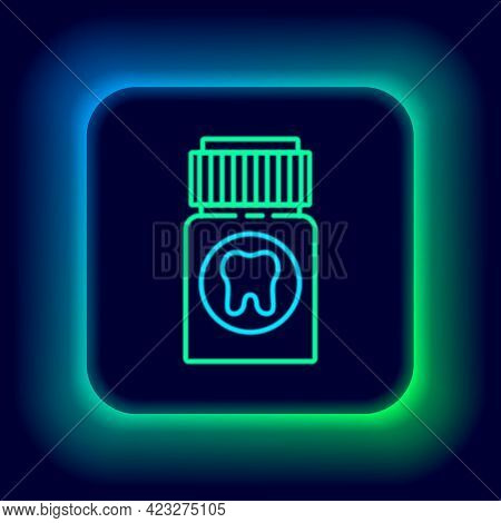 Glowing Neon Line Toothache Painkiller Tablet Icon Isolated On Black Background. Tooth Care Medicine