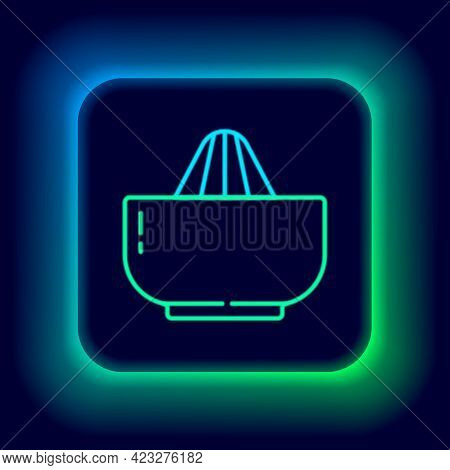 Glowing Neon Line Citrus Fruit Juicer Icon Isolated On Black Background. Colorful Outline Concept. V