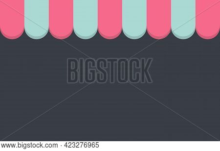 Storefront Pink And Light Blue Awning With Copy Space For Text .shopping Online,ecommerce Concept.ve