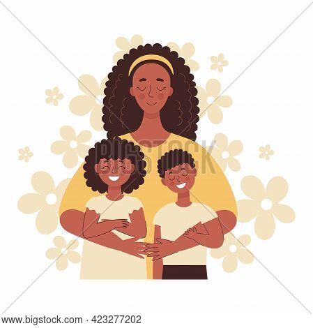 Beautiful African Black Woman Hugs Her Children, Mom Hugs Her Children. Mothers Day, Womens Day. Fla