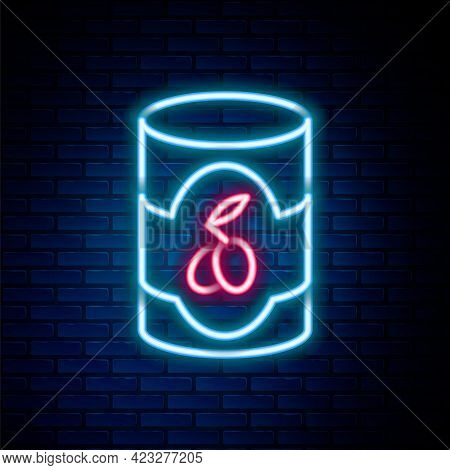 Glowing Neon Line Olives In Can Icon Isolated On Brick Wall Background. Concept Of Canned Food. Colo