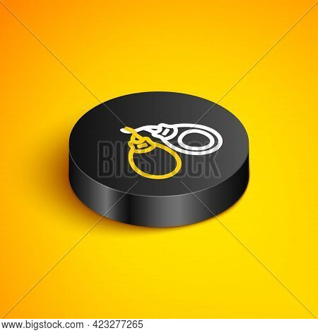 Isometric Line Musical Instrument Castanets Icon Isolated On Yellow Background. Black Circle Button.