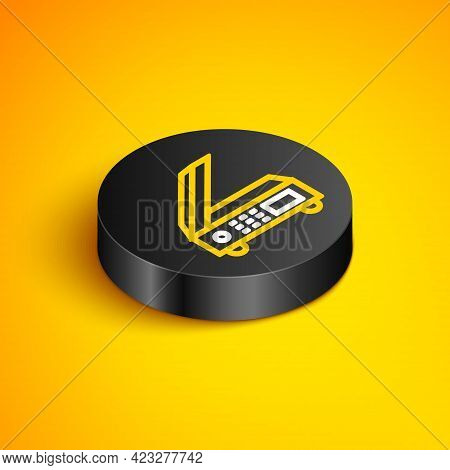 Isometric Line Scanner Icon Isolated On Yellow Background. Scan Document, Paper Copy, Print Office S