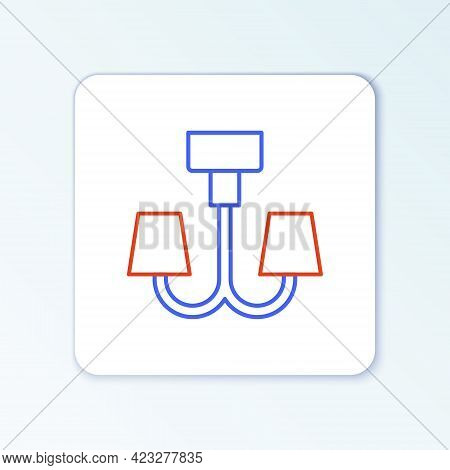 Line Chandelier Icon Isolated On White Background. Colorful Outline Concept. Vector