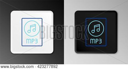 Line Mp3 File Document. Download Mp3 Button Icon Isolated On Grey Background. Mp3 Music Format Sign.