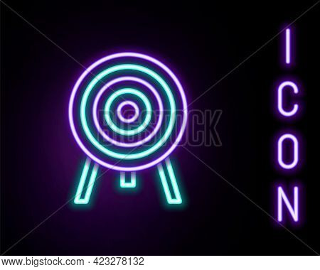 Glowing Neon Line Target Icon Isolated On Black Background. Dart Board Sign. Archery Board Icon. Dar
