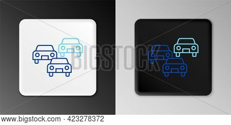 Line Traffic Jam On The Road Icon Isolated On Grey Background. Road Transport. Colorful Outline Conc