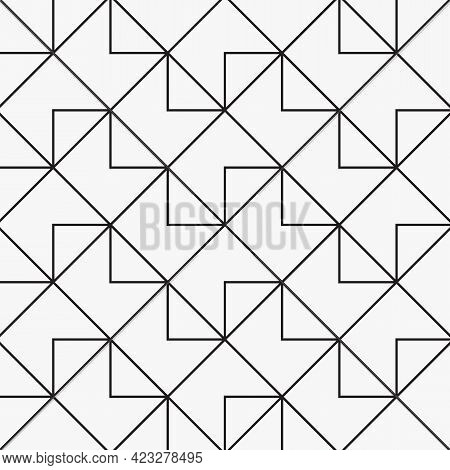 Geometric Vector Pattern, Repeating Diamond Shapes And Abstract Ladder With Triangles. Pattern Is Cl