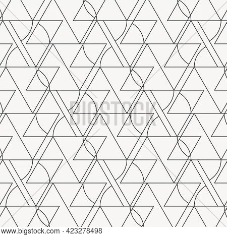 Geometric Vector Pattern, Repeating Small Triangle And A Curved Triangle Side. Pattern Is Clean For
