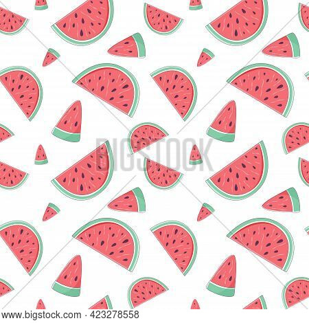 Summer Seamless Pattern With Slices Of Watermelon. Endless Texture With Sliced Juicy Watermelon. Vec