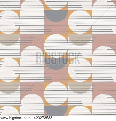 Geometric Vector Pattern, Repeating Square Circle And Half Circle With Stripe Linear On Surface. Pat