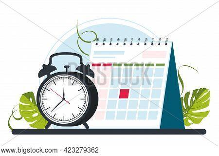 Calendar, Clocks, Alarm Clock. Time Management Concept, Deadline. Appointment, Important Date Concep