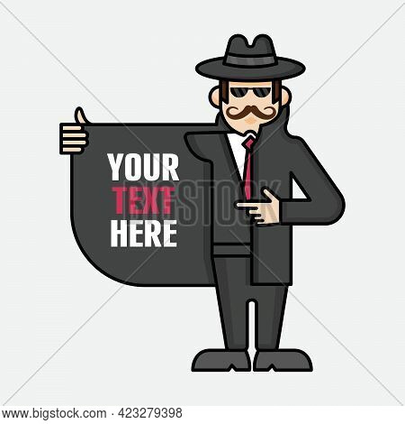 Funny Spy Vector Character Opens His Coat And Points His Finger. Secret Party Concept Mascot.
