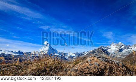 Ground level view of famous alpine peak Matterhorn near Swiss resort town of Zermatt