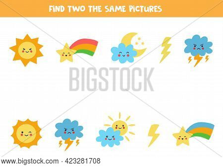 Find Two The Same Weather Pictures. Educational Logical Game For Kids.