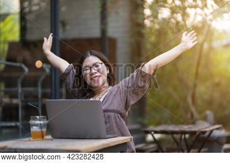 Happy Successful Stretching Relaxation Resting Of Asian Freelance People Business Female Casual Work