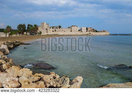 Panoramic View Onto Fortress Corycus & Mediterranean Coastline, Kizkalesi, Turkey. Town Was Founded