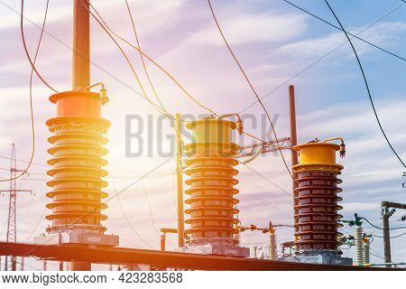 High Voltage Electric Transformer Generator Circuit Breaker In A Power Substation.high Voltage Circu