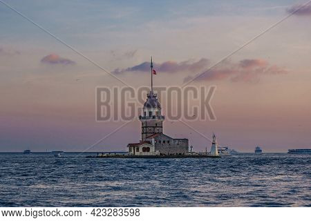 Island With Famous Maiden's Tower In Istanbul (turkey) As It Looks From Bosporus Side. It's Very Uni