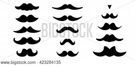 Mustache Icons Collection . Fathers Day Symbol. Gentleman Mustache Set In Black. Curly And Swirl Man
