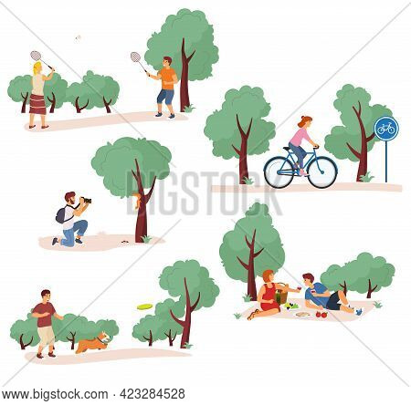 Leisure Activities In The City Park Vector Illustration. People Rides A Bicycle, Playing Badminton,