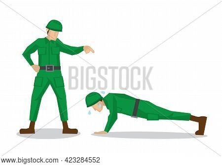 Army Officer Punish A Soldier. Concept Of Discipline And Order. Flat Isolated Vector Illustration.