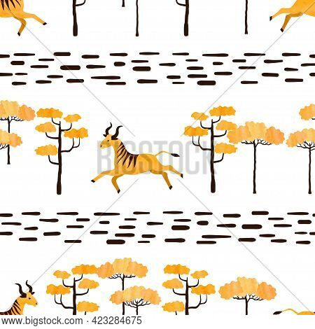 Seamless Trendy African Pattern With Antelopes And Trees. Vector Illustration Of Savanna With Wildeb