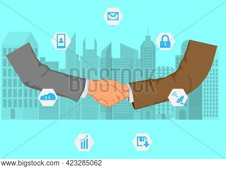 Drawing Graphics Hand Of Business Man Shaking Hands For  Successful Negotiate For Business Concept C