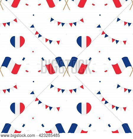 French Flags And Design Elements Vector Seamless Pattern Background For French Public Holidays.
