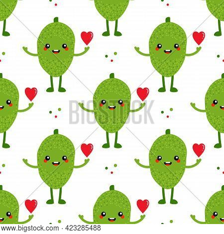 Cute Cartoon Style Happy Jackfruit Character With Red Heart Vector Seamless Pattern Background.