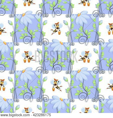 Bees Swarm. Organic, Natural Flower Honey. Honey Products. Vector Checkered Background. Funny Bee