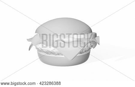 White Burger Isolated. 3d Render Miniature, Rendering, Cheese, Background, Fries, Fat