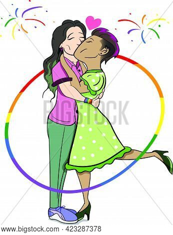 Two Girls In Love Vector Graphic. Lgbt Pride Celebration Lesbians Vector Graphic. Two Girls In Love