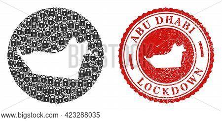 Vector Mosaic Abu Dhabi Emirate Map Of Locks And Grunge Lockdown Seal Stamp. Mosaic Geographic Abu D