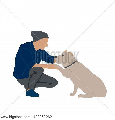 Illustration With A Person And A Pet. A Postcard Or Poster For A Pet Store. A Man And A Dog Drawn By