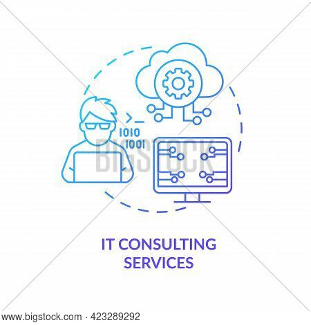 It Consulting Services Concept Icon. Community Development Abstract Idea Thin Line Illustration. Sof
