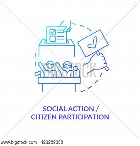 Social Action And Citizen Participation Concept Icon. Community Change Abstract Idea Thin Line Illus