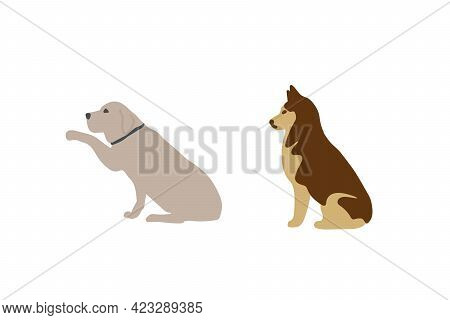 A Set Of Pets. Vector Illustration Of Dogs. Different Breeds And Colors Of Dogs Drawn By Hand. Vecto