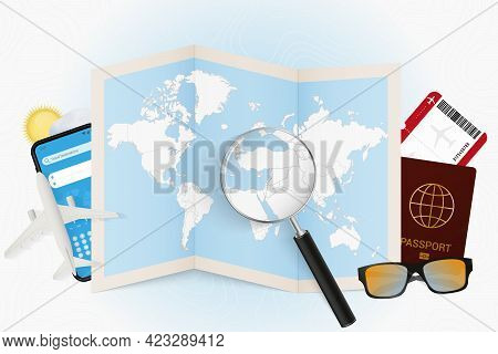 Travel Destination Lebanon, Tourism Mockup With Travel Equipment And World Map With Magnifying Glass