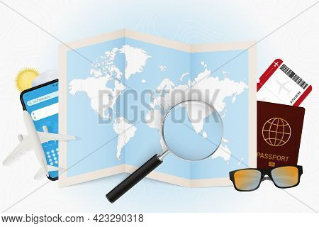 Travel Destination Maldives, Tourism Mockup With Travel Equipment And World Map With Magnifying Glas