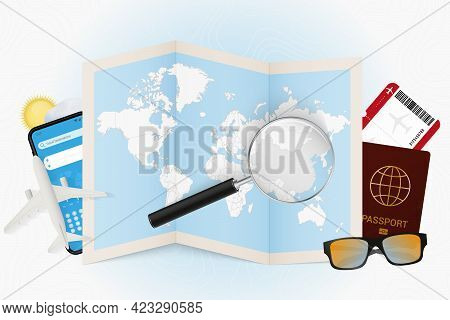 Travel Destination China, Tourism Mockup With Travel Equipment And World Map With Magnifying Glass O