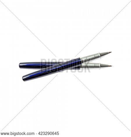 Blue ballpoint pen isolated on white