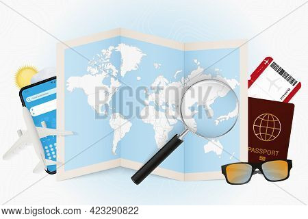 Travel Destination South Korea, Tourism Mockup With Travel Equipment And World Map With Magnifying G