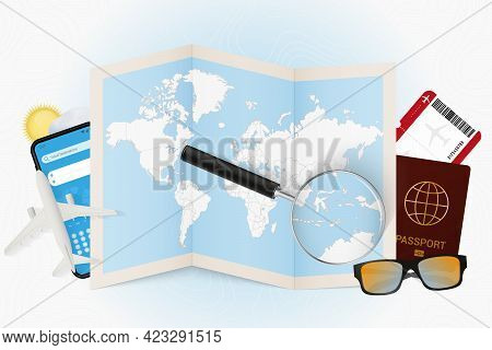 Travel Destination East Timor, Tourism Mockup With Travel Equipment And World Map With Magnifying Gl