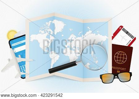 Travel Destination Philippines, Tourism Mockup With Travel Equipment And World Map With Magnifying G