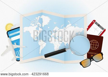 Travel Destination Marshall Islands, Tourism Mockup With Travel Equipment And World Map With Magnify