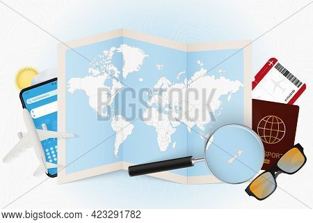 Travel Destination New Zealand, Tourism Mockup With Travel Equipment And World Map With Magnifying G
