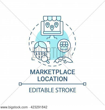 Marketplace Location Concept Icon. Ecommerce Site Country Abstract Idea Thin Line Illustration. Avai