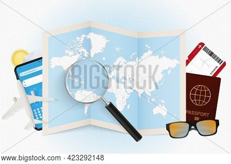 Travel Destination Puerto Rico, Tourism Mockup With Travel Equipment And World Map With Magnifying G