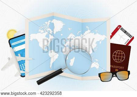 Travel Destination Mauritius, Tourism Mockup With Travel Equipment And World Map With Magnifying Gla